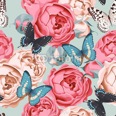 Seamless peony roses and butterfly 102598063