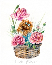 Yorkshire terrier on the basket with flowers. Roses inside basket. Flower backdrop. Decoration with puppy & flowers. Watercolor hand drawn illustration. 108099814