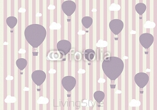 Travel pattern of balloons and clouds. Wallpaper  for girls.  99850134