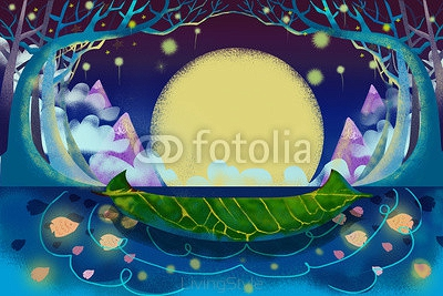 Illustration for Children: The Mysterious River and The Boat. Realistic Fantastic Cartoon Style Artwork 98132565