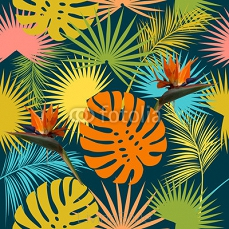 Leaves and flowers of palm tree seamless pattern  125401068