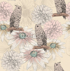 Vector sketch of a owl with flowers. Seamless pattern. 108727996