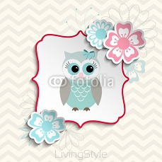 Cute owl in shabby chic style, illustration 112286945