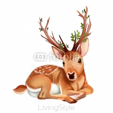 Illustration: The Mysterious Deer. Realistic Fantastic Cartoon Style Wallpaper / Scene / Background / Card Design.