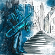 sax player (full sized hand drawing - original) 52554166