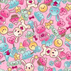 Seamless kawaii child pattern with cute doodles. 47848370