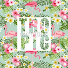 Tropical Flowers and Leaves. Tropical Flamingo Background. 106916226