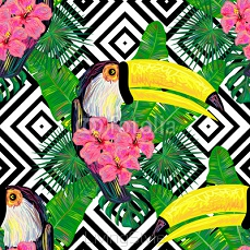 Seamless jungle pattern with toucan exotic bird, palm leaves, tropical hibiscus flower vector background. Perfect for wallpapers, pattern fills, web page backgrounds, surface textures, textile 109459768