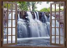Open window view to famous ◾Rochester falls Mauritius island 112417935