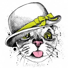 Cat portrait in Elegant women's hat with green bow. Vector illustration. 118742818