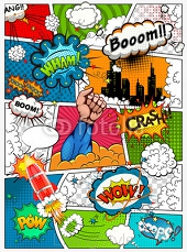 Comic book page divided by lines with speech bubbles, rocket, superhero and sounds effect. Retro background mock-up. Comics template. Vector illustration 111159262