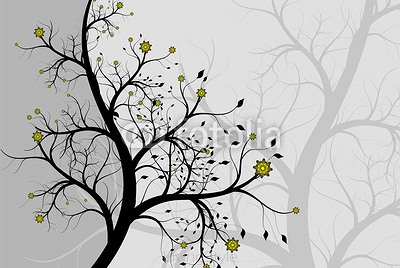 Abstract background a tree with colours (silver flowers) 15645029