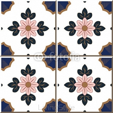 Vintage seamless wall tiles of pink golden flower leaf, Moroccan, Portuguese.  99698477