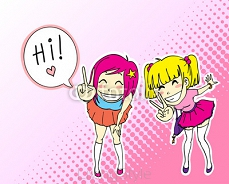 happy manga style teenage girls 45937792
