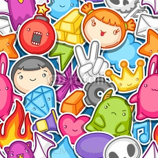 Game kawaii seamless pattern. Cute gaming design elements, objects and symbols 118394197
