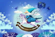 Illustration for Children: And Old Kind Magician is Flying by Riding on a Wooden Horse Chair. Realistic Fantastic Cartoon Style Story / Scene / Wallpaper / Background / Card Design. 97263789