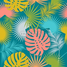 Leaves of palm tree seamless pattern 123065084