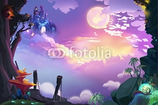 Illustration: Look, the Castle in the Air, We finally get here, but how Can we get there? Realistic Fantastic Cartoon Style Artwork Scene, Wallpaper, Game Story Background, Card Design 100014344