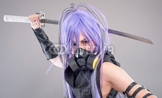 Female fantasy warrior / Female warrior with sword and gas mask isolated on the gray background 88206192