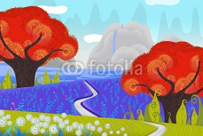 Creative Illustration and Innovative Art: Beautiful View of Countryside by Daylight. Realistic Fantastic Cartoon Style Character, Story, Card Design