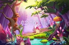 Illustration: The Mystery Forest with Strange Plants and Flowers. Realistic Fantastic Cartoon Style Artwork Scene, Wallpaper, Story Background, Card Design