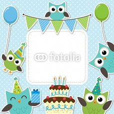 Party owls blue card 96123575