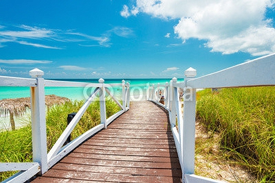 Walkway leading to a tropical beach in Cuba 68168939