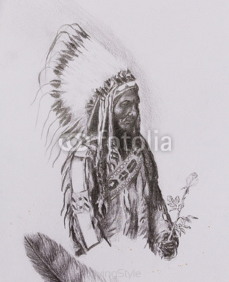 drawing of native american indian foreman Sitting Bull - Totanka Yotanka according historic photography, with beautiful feather headdress, holding rose flower. 107150323