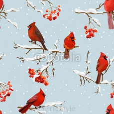 Winter Birds with Rowan Berries Retro Background - Seamless Pattern 125181834