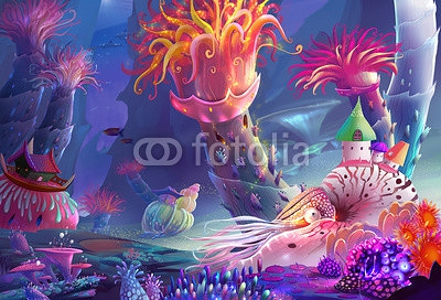 Illustration: The Running Water World - You may not noticed, the most magical thing here is that you can just breath the water! Even as the human being! - Scene Design - Fantastic Style 94553359