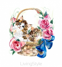 Two kitten on the basket with flowers. 75458996