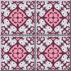 Vintage seamless wall tiles of purple red flower. Moroccan, Portuguese.  99373571