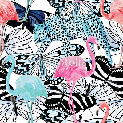 flamingo, leopard and butterflies watercolor pattern 83344032