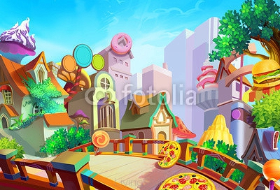 Illustration: A beautiful town with food falling from sky in the morning. Removed our lovely girl Lulu in case you need the scene. Fantastic / Cartoon Style. Wallpaper / Background / Scene Design 94457133