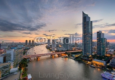 Bangkok City and the river,Hotel and resident area in Thailand 74410251