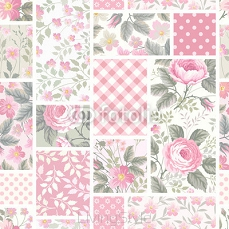 seamless floral patchwork pattern with roses in pastel colors 101102733