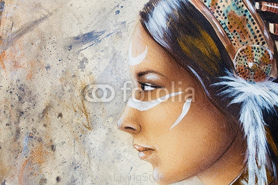 woman face and white tattoo, airbrush painting on paper, profile portrait.  108712217