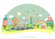 Amusement park in flat style 80203011