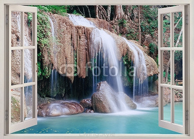 Open window view to Erawan Falls, Thailand 97728992