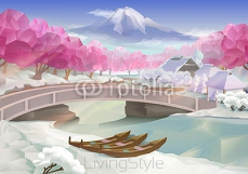 Pink grove, landscape vector background 95498097