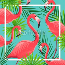 Vector Illustration of an Abstract Background with Flamingos 107043410