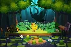 "Illustration: ""Hello, Friends, I'm little ugly duckling!"" ""No, You are a Beautiful Swan!""  Realistic Fantastic Cartoon Style Scene / Wallpaper / Background Design. 95601408"