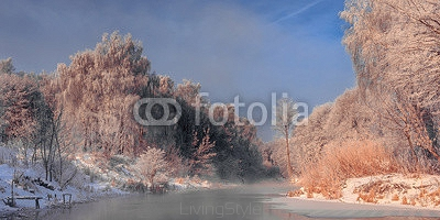 frosty misty morning on the rive 103423481