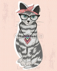 Cute hipster rockabilly cat with head scarf, glasses and necklac 63019239