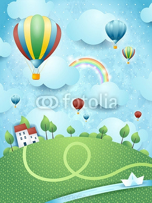 Fantasy landscape with hot air balloons and river 65996810