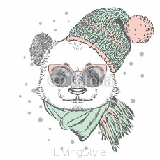 Panda with glasses, hat and scarf. Vector illustration for greeting card, poster, or print on clothes. Christmas and New Year. Winter. 122266213