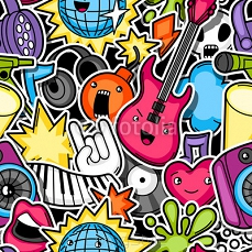 Music party kawaii seamless pattern. Musical instruments, symbols and objects in cartoon style 118239174
