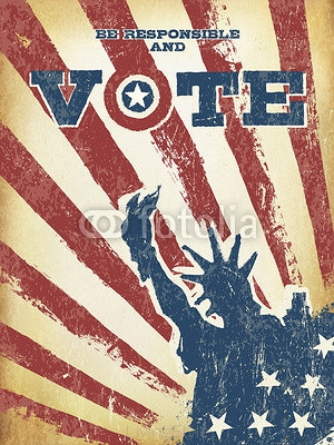 Be responsible and Vote! On USA map. Vintage patriotic poster to 105532575