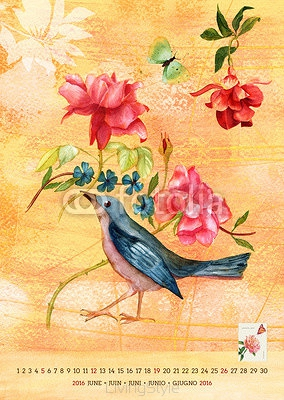 Vintage 2016 wall calendar with watercolor birds and flowers; June 95756002