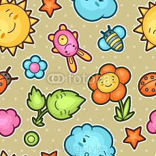 Seamless kawaii child pattern with cute doodles. Spring collection of cheerful cartoon characters sun, cloud, flower, leaf, beetles and decorative objects 101131163